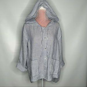 Tahari linen hooded top.